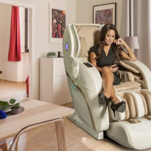 Apollo white massage chairs - banner in living room