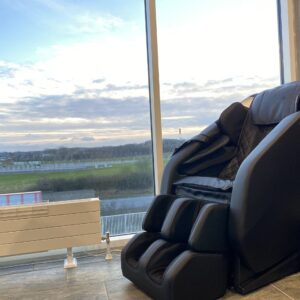 Atmos Massage Chair in black in penthouse apartment Danish design